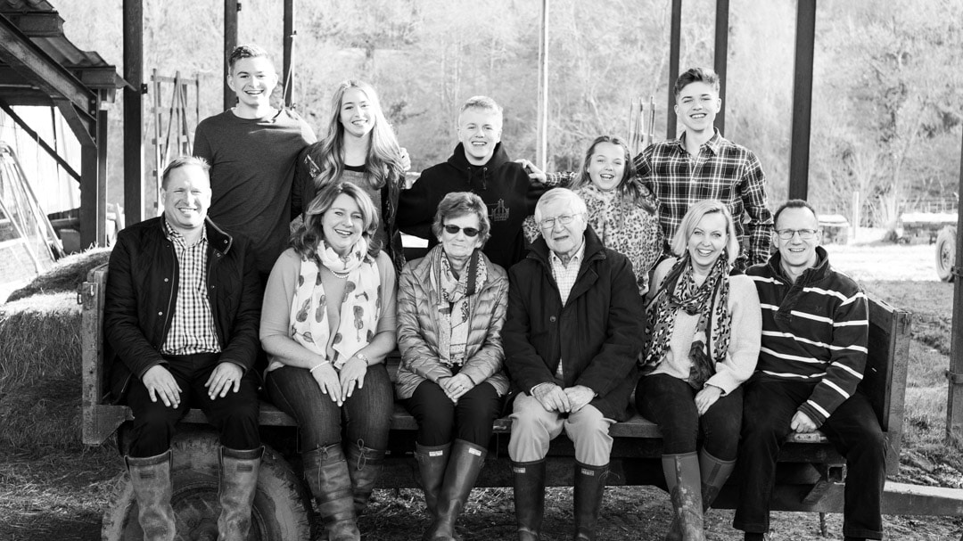 Big family photograph for anniversary on farm in Worcestershire by Michelle Morris
