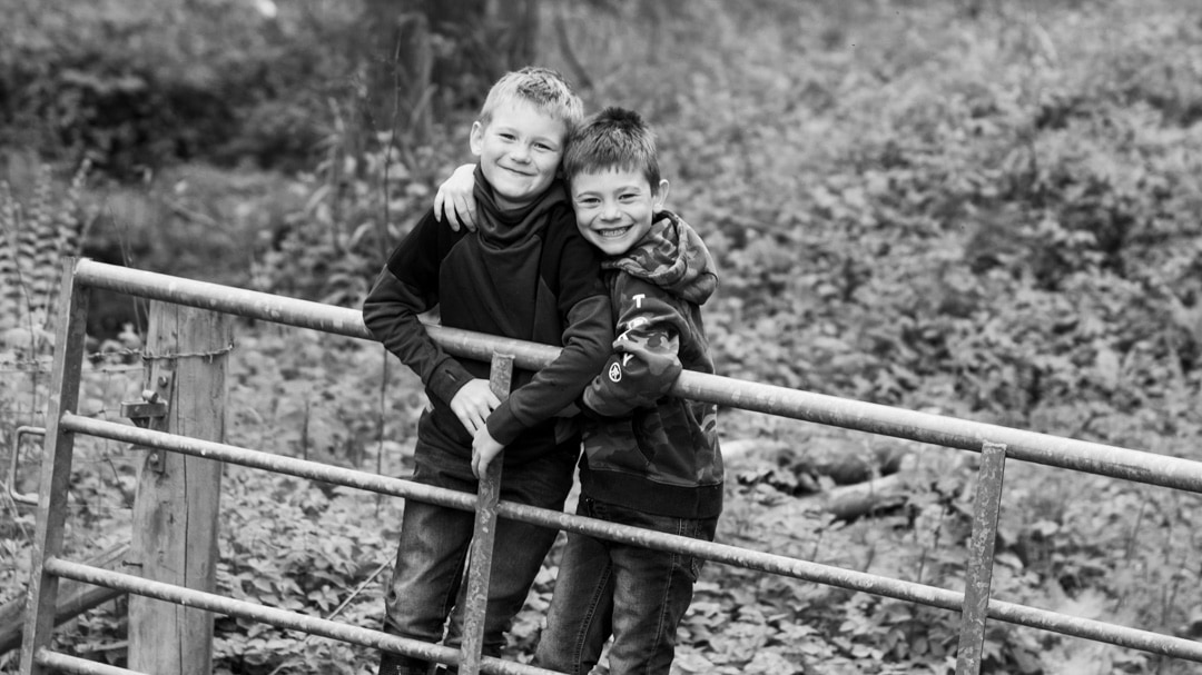 Brothers playing on farm gate during family photo session on farm in Worcestershire by Michelle Morris